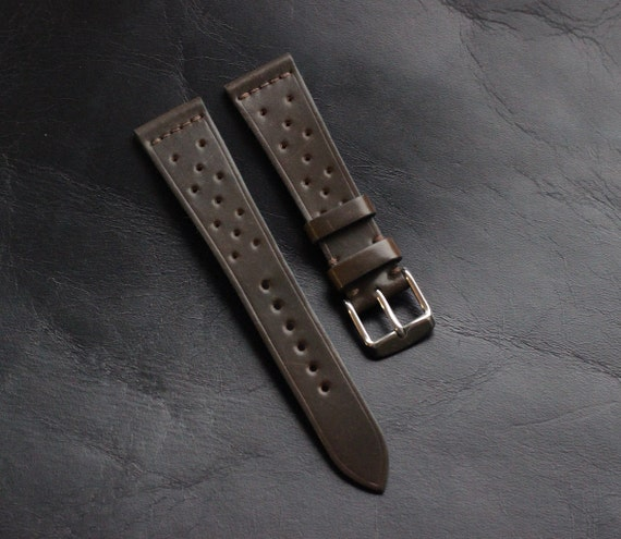20/16mm Dark Cognac Horween Shell Cordovan Rally watch band