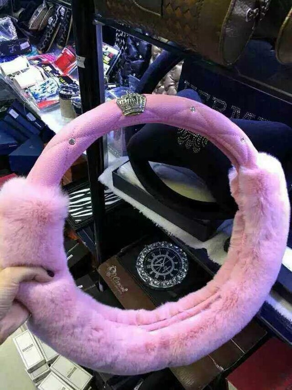 Women Car Accessories Pink Furry Steering Wheel Cover Bling