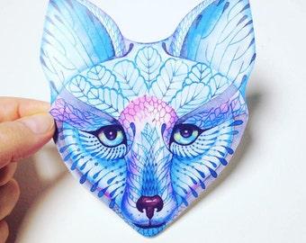 Blue Fox face animal sticker, 100% waterproof vinyl label.