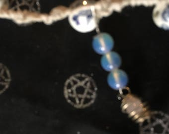 The blue chaledony bracelet for charged for peace and tranquility.