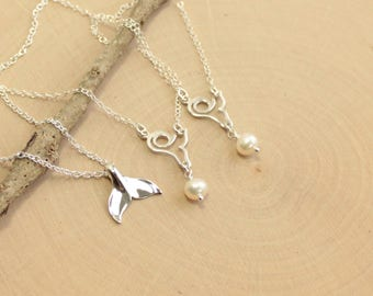 Sterling Silver Mother and Two Daughters Mermaid Tail  Necklace Set (of 3 Necklaces)