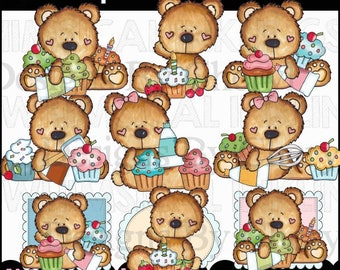 Birthday Clipart - Cupcake Clipart - Party Clipart - Instant Download - Cupcake Bears - Kids Clipart - Commercial Use