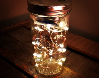 Jar of Fireflies Mason Jar with Battery Powered LEDs - Christmas Decor Battery Powered Lighting Fairy Lights