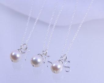 Bridesmaid necklace set, Bridesmaid pearl necklace and initial set, Set of 3, set of 4, set of 5, set of 6, set of 7, set of 8