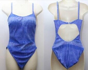 """90's Vintage """"SESSA"""" One-Piece Open-Back Royal Blue Swimsuit Sz: 10 (Women's Exclusive)"""