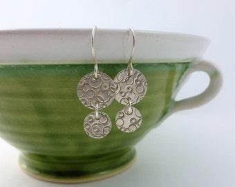 Stamped sterling silver earrings, gift for women, Boho style earrings, sterling silver disc earrings, handmade