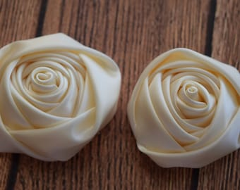 Ivory 1.5 inch Multilayer Satin Rolled Rose with or without leaves, Satin Rosette, Wholesale Flower, Rose Buds, Floral Embellishment