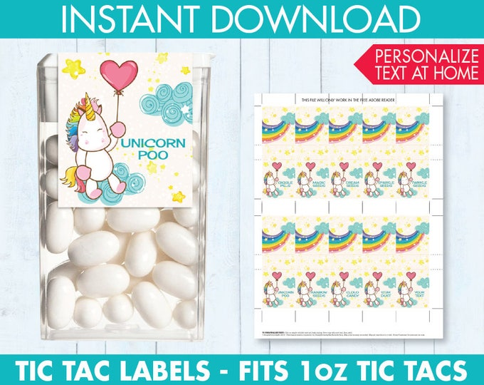 Unicorn Party Favor - Tic Tac Labels, Unicorn Birthday, Unicorn Poop, Unicorn Decorations | INSTANT Download PDF - Printables