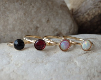 Stacking Ring, Gold Stacking Ring, Onyx Fire Opal Garnet Ring, Stackable Birthstone Ring,  Mother's Ring, Stack Rings. Birthstone Rings Set