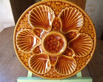 5 majolica LONGCHAMP ,  1930 , France ,  oysters plate perfect condition