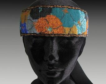 Loom Work, loom work headband, Seed Bead bandeau,Flapper bandeau,1920s bandeau, flapper, Downton Abbey, Boardwalk empire, handmade by artist