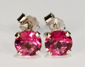 Mystic Pink Topaz Earrings~.925 Sterling Silver Setting~6mm Round Cut~Genuine Natural Mined