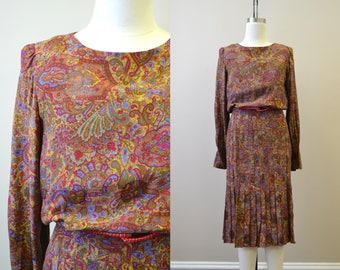 1980s Raul Blanco Silk Paisley Dress