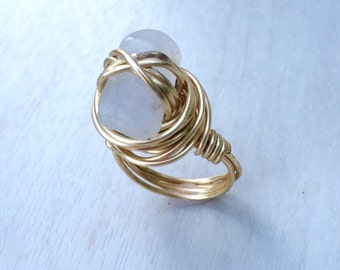 Grey Quartz Wire Wrapped Ring