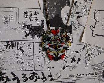 Stewed Screwed & Tattooed Necklace - Rockabilly Tattoo Sailor Jerry Handmade