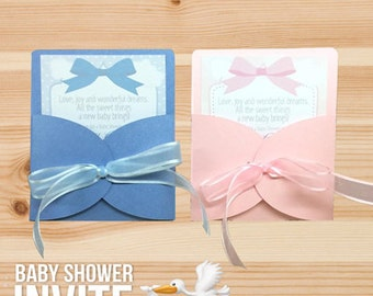 Baby Shower Custom Designed Invitation For Boys or Girls made with Premium Cardstock, Ribbon and Laser Printed