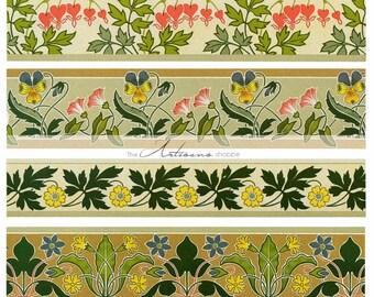 Art Nouveau Scrolls Designs Floral Graphic Art Image - Digital Download Printable Image - Paper Crafts Scrapbooking Altered Art - Wallpaper
