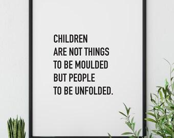 Reggio Emilia Zitat Kinder Zu Drucken, Poster, Kinder Schlafzimmer  Dekoration, Skandinavische Rustikal,