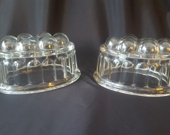 Two Vintage Funky Glass Jelly  or Jello Molds!  Mid Century Made in England