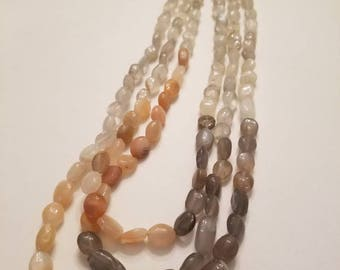 Triple strand moonstone necklace, ombre necklace, peach necklace, gray necklace, triple strand necklace
