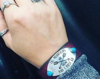 The mountains are calling and I must go leather bracelet
