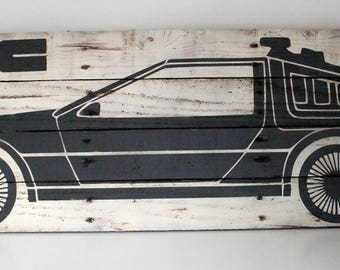Back to the Future Wall Art - Delorean Painting - BTTF - Gift for Geeks - Man Cave Decor - Christmas Gift - Reclaimed Wood - Pallet Wood