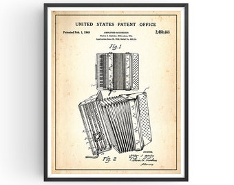 ACCORDION - Patent Print - Accordion Art - Accordion Gift - Vintage Accordion - Accordion Decor - Home Decor - Gift for Musician - Unframed