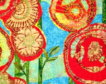 Wall Hanging Art Quilt Roses/American Beauty Garden Tapestry Roses Happy Glorious Spring Garden! Batiks Red Blue Turquoise