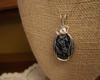 natural wire-wrapped SNOWFLAKE OBSIDIAN cabochon pendant handcrafted polished jewelry handmade