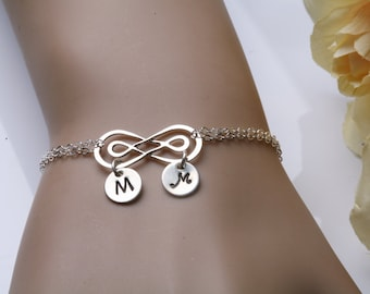 Double Infinity initial bracelet,hand stamped monogram bracelet,Couple initials,friendship bracelet,sisterhood,wedding jewelry,custom font