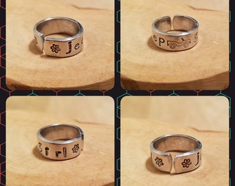 JEEP GIRL toe ring 1/4 inch width hand stamped and polished adjustable size aluminum OIIIIIIIO