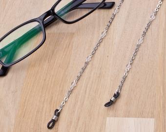 Silver glasses chain with clear quartz - gemstone eyeglass chain | Everyday eyewear neck cord | Sunglasses chain | Eyeglasses holder gift