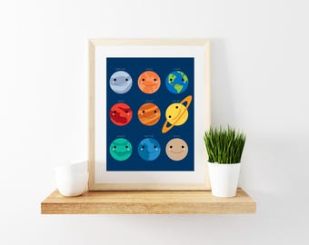 9 Smiling Planets (Dark Blue Background)