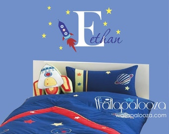 Outerspace Wall Decal - Rocket Wall Decal with Name - Boy's Room Wall Decor -  Spaceship Wall Decal - Wall Art - Wallapalooza Wall Decals