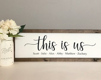This Is Us-Family Name Sign-Fixer Upper-Custom Sign-Farmhouse Sign-Personalized Name Sign-Anniversary Gift-Custom Name Sign-Framed Sign