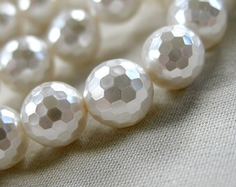 "8mm White Faceted Round Shell Pearls, 16"" strand, 48 pearls"