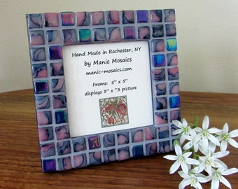 Mosaic Picture Frame-Blue and Pink Mosaic Frame-small frame-standing picture frame-mosaic mirror-hanging frame-framed mirror-tabletop frame