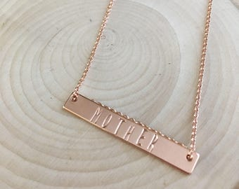 Rose Gold Bar Necklace. Mother. Plated. Minimalist. Gift. Dainty.