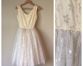 50's Silver Lake Tulle Party Dress • XS  • Includes Crinoline