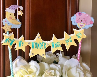 How we wonder what you are cake topper, baby reveal cake topper, baby shower cake topper, baby shower decor, twinkling star topper