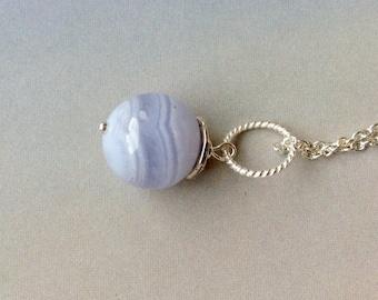 12mm Best Quality Blue Lace Agate Pendant, Superior Quality Blue Lace Agate Necklace, sterling silver pendant, Blue Lace Agate Gemstone