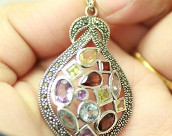Beautiful Vintage Sterling Silver Pendent With Multi-Colored Gems and Marcasite