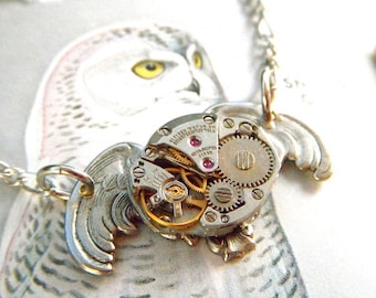 Steampunk Necklace Antiqued Silver Owl Gothic Victorian Inspired Vintage Watch Movement Popular Steampunk Style Fashion Jewelry