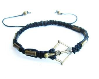 Mens bow and arrow bracelet, mens macrame bracelet, shamballa bracelet, mens arrow bracelet, shamballa bracelet bow and arrow