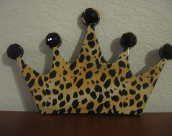 Leopard Crown Wall Hanging-Chipboard Crown-Girls Room Decor-Wall Decor