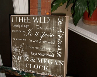 Wedding Gift, Parents Gift,, Mother of the Bride, Father of the Bride, Personalized Wedding Gift, Wedding Sign, 15x15 Birch