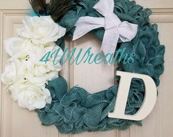 Turquoise Burlap, Burlap Wreath, Welcome Wreath, Everyday Wreath, Door Decor, Door Hanger, Wreath
