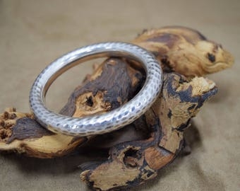 Amazing Thick Hammered Sterling Silver Bangle