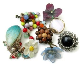 Vintage single earring lot, single earrings, earrings for repurpose, lot of 8 single earrings, vintage jewelry lot