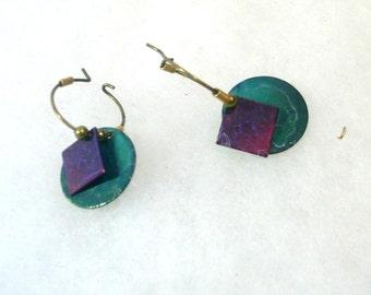 Vintage Wire Hoop Earrings -  Gold with  Teal and Purple Geometrics